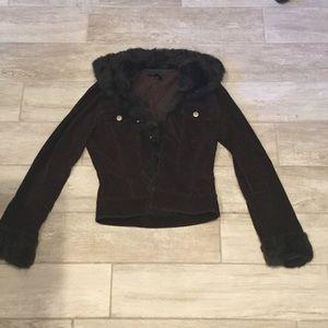 Brown corduroy & fur jacket